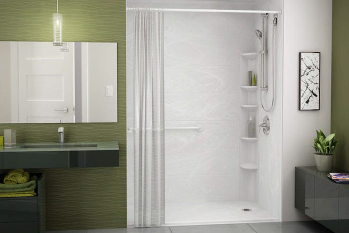Sink and shower area in the bathroom